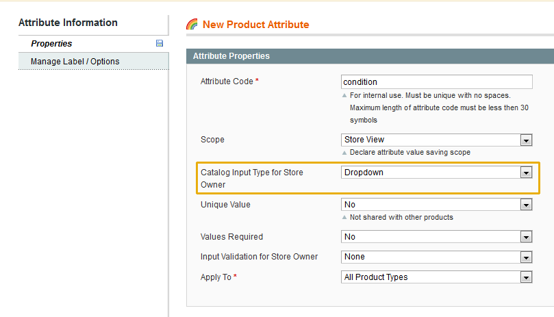 Condition - new - product attribute