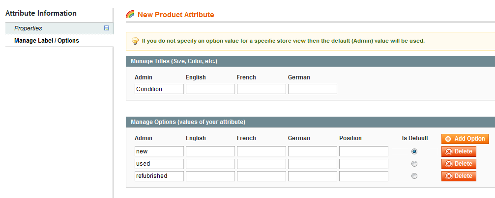 New product attribute