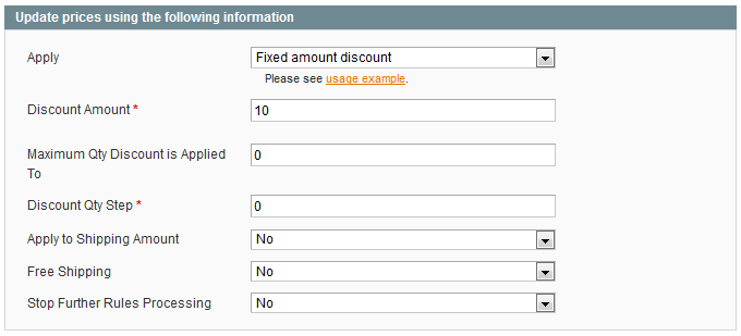 create fixed amount off promotions in Magento