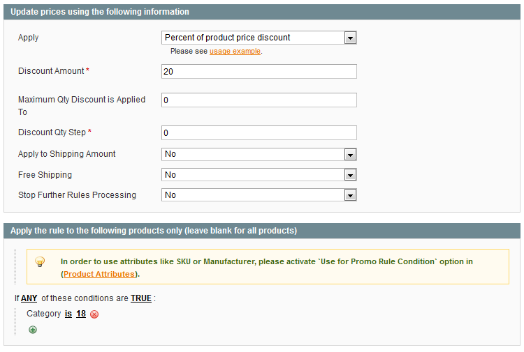percentage off one product category in Magento store