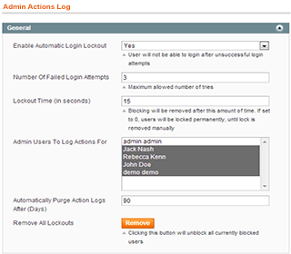 magento admin actions log