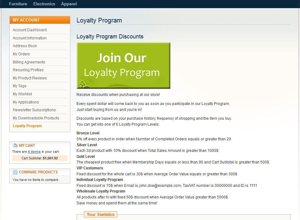 Magento Loyalty Program Extension - Customer Rewards
