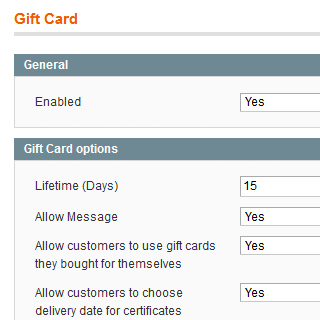 magento gift card module