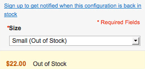 out of stock configurable products