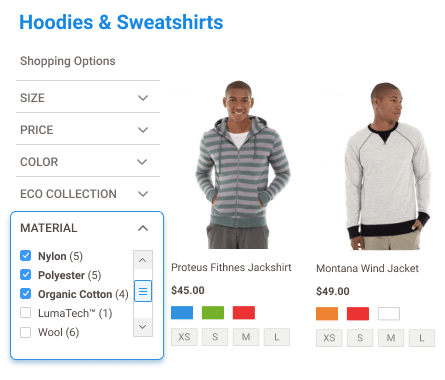 price slider & filters for magento 2