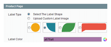 magento product labels choose shapes and color