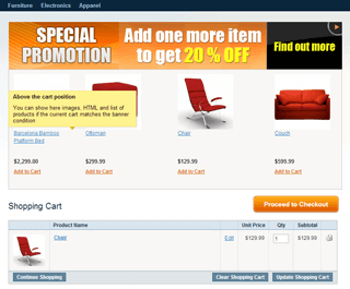 magento banners on shopping cart page