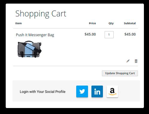 social login shopping cart