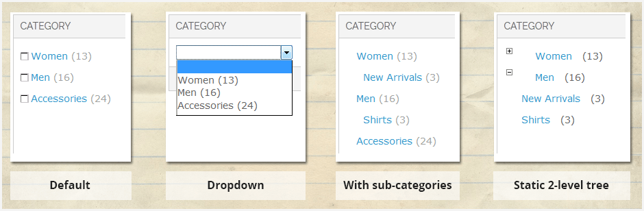 Various category display modes