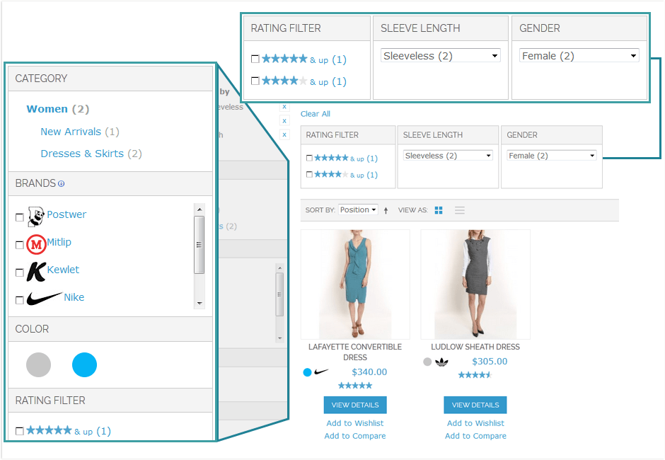 Vertical and horizontal Magento navigation blocks