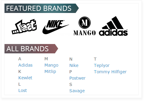 Alphabetical blocks of brands or any other product attribute