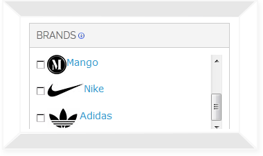 Filters with brand logos in navigation block