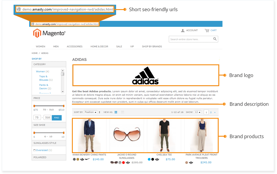 Unique 'Featured brand' pages with