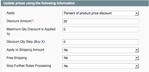 specify percentage off specific products in Magento store