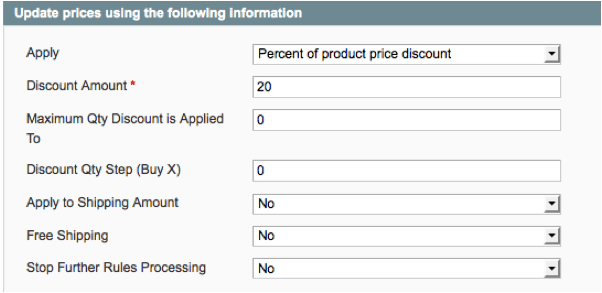 actions for percentage off defined products in Magento
