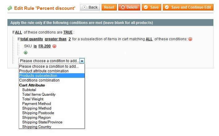 Conditions settings in Magento
