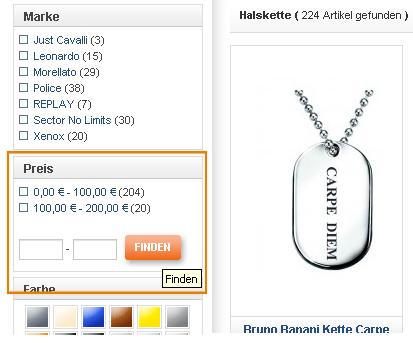 magento layered navigation price range