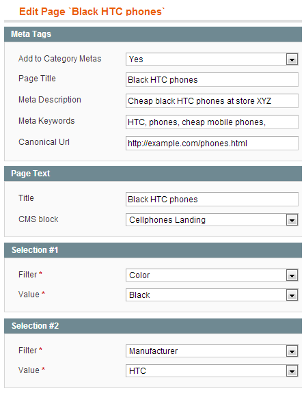 Custom meta tags admin page